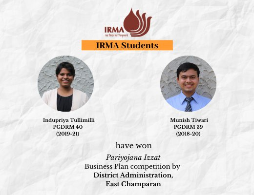 IRMA participants win business proposal competition by Government of Bihar
