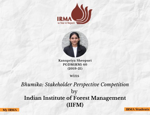 PGDM(RM) 40 participant wins a competition by IIFM