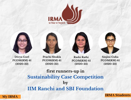 PGDM(RM) 41 participants declared first runners-up in competition by IIM Ranchi and SBI Foundation
