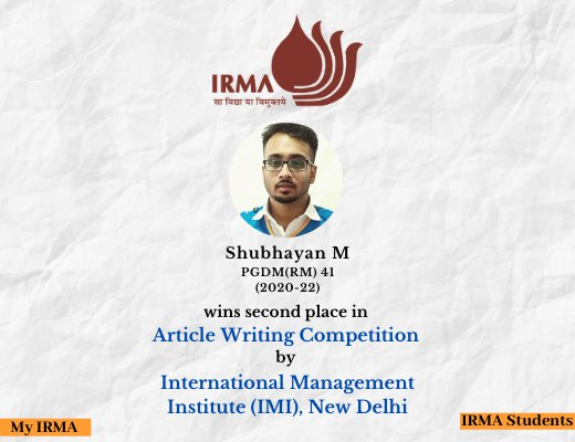 PGDM(RM) 41 participant wins second place in article-writing competition by IMI, New Delhi